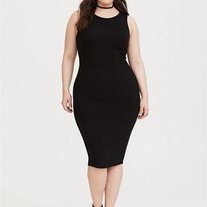 Black Jersey Midi Bodycon Dress